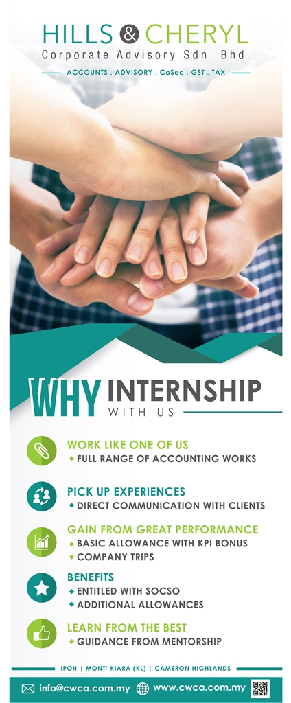 Accounting, internships, internship in Ipoh, Accounting internship in Cameron Highlands, interns