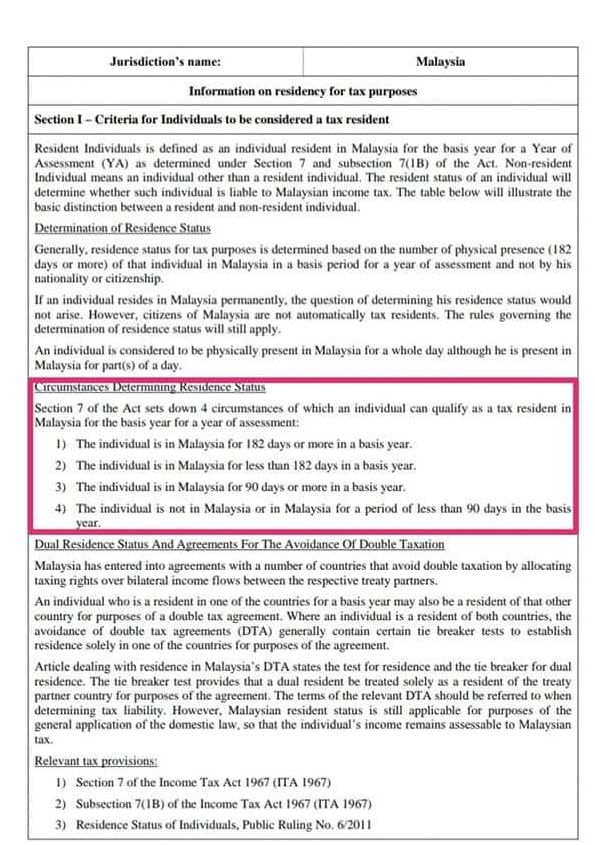 Tax Resident Criteria